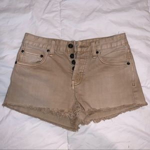 Free People khaki denim shorts